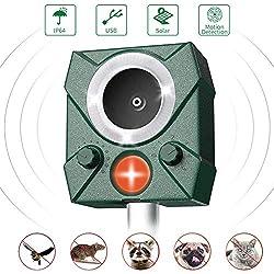 STCLIFE Répulsif Chat Exterieur- Répulsif Chat Ultrason Solaire Sensibilité et Fréquence Réglable Ultrason Chat-avec Alarme et Lumières Clignotantes pour Repousser Animaux Nuisibles