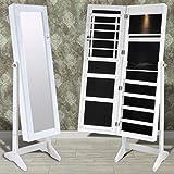 binzhoueushopping Standspiegel Weiß Spiegelschrank Stehend LED Schmuckschrank 46 x 37 x 146 cm