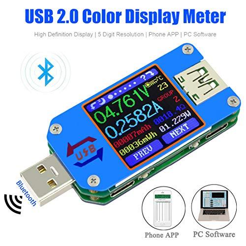 USB Spannungsprüfer Voltmeter Tester Multimeter UM25C Spannung Meter LCD Display USB-Digital-Multimeter-Tester Aktuell Amperemeter Batterie Ladung, 1,44 Zoll 5A USB 2.0 Typ-C Bluetooth -