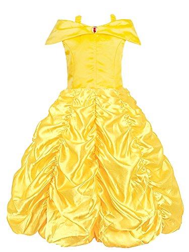 KABETY Mädchen Kleider Prinzessin Kleid Belle Einfarbig Cosplay Kostüme (Gelb, 5-6 Jahren)
