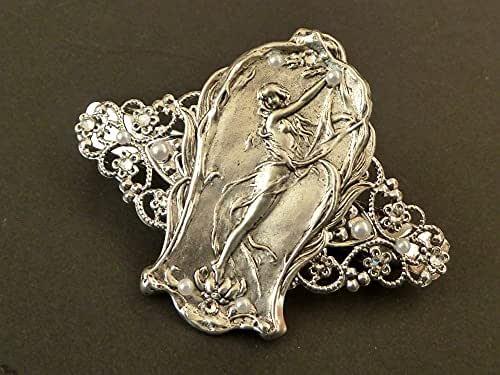 Fermaglio per capelli con ninfa Art Nouveau, color argento