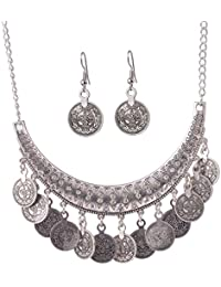 Vintage Antique Coins Silver Plated Pendant Necklace & Drop Earrings Party,Marriage For Women Girls By FFIME