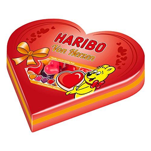 Haribo Herzsdose, Geschenk Dose, Zufällige Auswahl, Fruchtgummi mit Schaumzucker, Fruchtgummi, Weingummi, 250 g