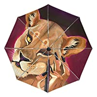 Umbrella Customize 3 Folds Queen Lion Animal Windproof Auto Open Close Lightweight Anti-UV