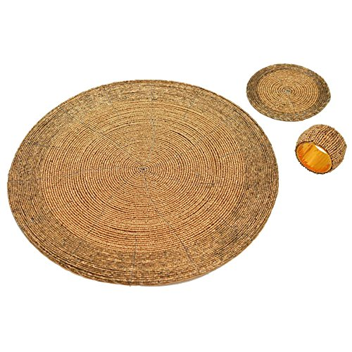Sets de table, dessous de verres et ronds de serviette 6 de chacun - doré
