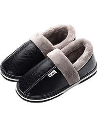 33ba01888cf Adultos Unisex algodón Zapatillas,Cuero Vamp,Gran tamaño,Caballeros Damas  Zapatillas de casa