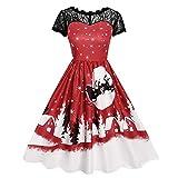 Kleider Damen Kleid 1950er Vintage Brautjungfernkleid Petticoat Kurz Ballkleid Kleiderbügel Hepburn, Spitze Kurzarm Print Halloween Party Swing Kleid(X-Large,15)