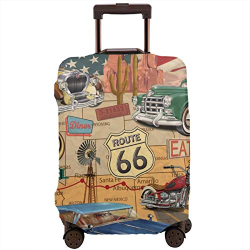 Travel Suitcase Protector,Vintage Route 66 Poster,Suitcase Cover Washable Luggage Cover XL Black Skull Hard Case