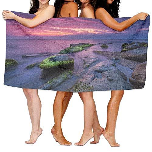 fregrthtg Bath Towel Unisex Coast Sea Stones Evening Over-Sized Cotton Bath Beach Travel Towels 31x51 inch