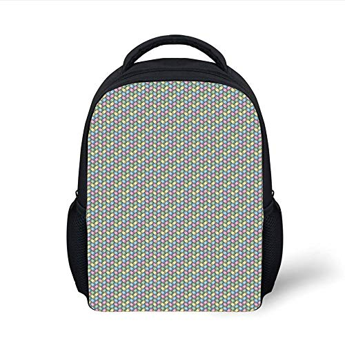 Kids School Backpack Abstract,Woven Soft Colored Geometric Stripes Crisscross Pattern Ornate Traditional Design Decorative,Multicolor Plain Bookbag Travel Daypack -
