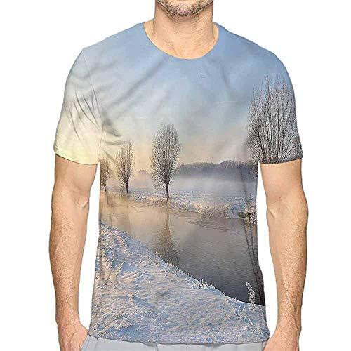 T-Shirt für Männer Winter, Schneeflocke Sonnenbrille Handschuhe Custom T-Shirt, M