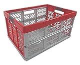 Profi - Klappbox TÜV zert. 45 L bis 50 kg silber / rot Faltbox Kunststoff Transportkiste Box Kiste