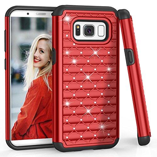 HanLuckyStars Kompatibel mit Samsung Galaxy S8 Handyhüllen, S8 Handy Hülle, Hardcase Strass Glitzer Schutzhülle Bling Kristall Strass Diamant TPU Hybrid Case, Rot Hybrid Case Rot