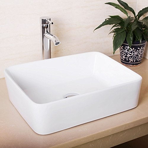 Seasofbeauty Luxueuse Vasque à Poser en Céramique Lavabo Rectangulaire Blanche (48x38x13 cm)