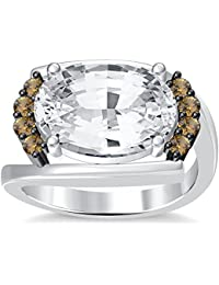 Silvernshine 4Ct Oval & Round Cut Sim Citrine Diamonds 18K White Gold Plated Engagement Ring