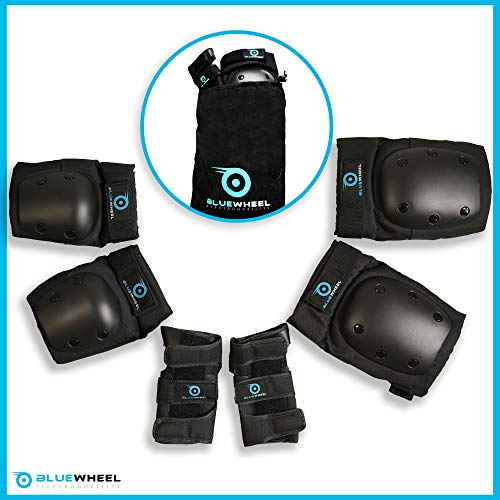 Bluewheel Schutzausrüstung PS200 für Hoverboard, Inline-Skate, BMX-Fahrrad, Skateboard; Protektoren-Set mit Optimaler Passformregulierung & festem Sitz für Kinder und Erwachsene - inkl. Tragebeutel
