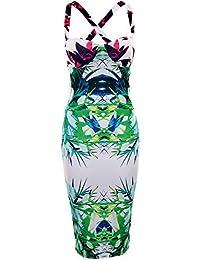 FANTAISIE pour femmes rembourré célébrité Jessica inspiré Dos En Croix Floral Baroque Robe Mi-longue Imprimée - Blanc, EU 40