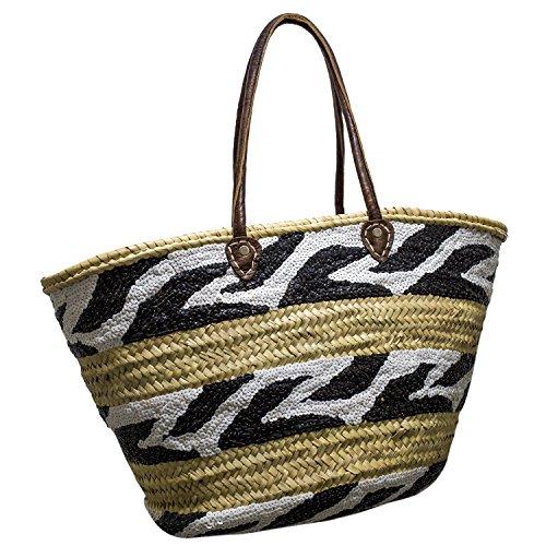 Großer Zebra Französischer Markt Einkaufskorb - Supermarkt - Reise - Feiertag - Strand-Tasche (Korb Französisch-markt)