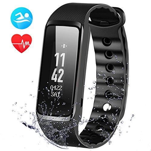 OMorc Fitness Tracker, Weloop Now 2 Bluetooth Herzfrequenz Fitness Armband IP68 Wasserdicht Sport Armband smart bracelet Smartwatch –Schwarz