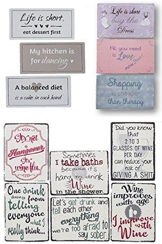 Geschenkestadl 0090 12er Set Magnete Spruch Kühlschrankmagnete lustige Sprüche Englisch