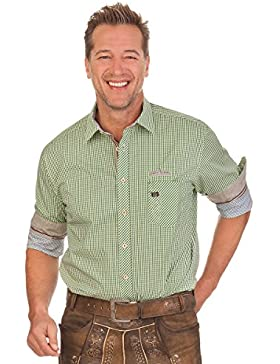 Trachtenhemd mit langem Arm - ENDRIK - grün, beere