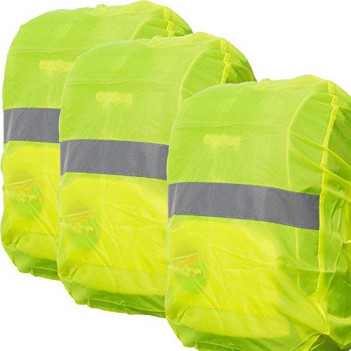 [3 STÜCK] - Regenschutz für Rucksäcke | Wasser- und Windabweisend | Reflektorstreifen | Rucksackschutz Ranzen Regencape Rucksackcover Regenüberzug Neon Sicherheitsüberzug Reflektorüberzug