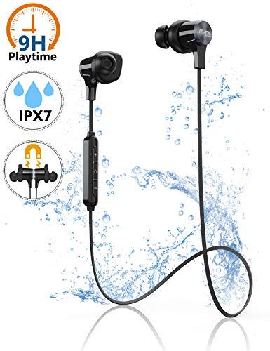 Bluetooth Kopfhörer, Kabellos Sportkopfhörer IPX7 Wasserdicht, In Ear Ohrhörer mit Noise Cancelling Mikrofon, 9H Spielzeit, Schweißresistenz, Fitness Headset für Joggen/Laufen iPhone Android