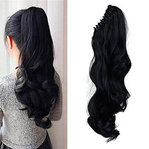 Coda di cavallo extension coda capelli neri con pinza 45cm estensioni per capelli ondulati ricci claw on ponytail hair resistente al calore, nero