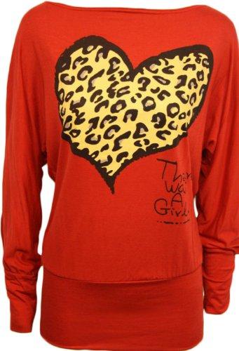 Nouveau femmes plus longue baggy taille leopardherz flügelhülse chiffons tops Rouge - Rouge
