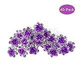 épingles à cheveux, Pomlink 40pcs Cristal Diamant Rose Fleur Pinces à cheveux pour mariée Bal de mariage, Violet