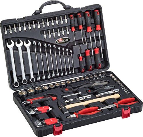 VIGOR V4425, Universal Werkzeugkoffer, inklusive Sortiment, 95-teilig, Haushalts-Werkzeugkoffer bestückt