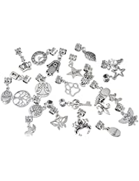Hexawata Mixed Anqutie Silver Color Copper Spacer Charm Beads For European Bracelets Pack Of 10pcs