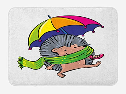 Icndpshorts Hedgehog Bath Mat, Smiling Animal with Spikes and Scarf Rainbow Colored Umbrella Walking Winter Theme, Plush Bathroom Decor Mat with Non Slip Backing, 23.6 x 15.7 Inches, Multicolor Combo Winter Liner