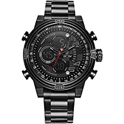 Alienwork Analogue-Digital Watch Chronograph LCD Wristwatch Multi-function Metal black black WD.WH-5209-B-3