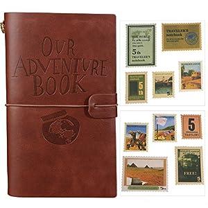 Nuestra Aventura libro diario, rellenable, piel bloc de notas Diario de viaje con tarjeta ranuras y bolsillo con cremallera personalizada regalo para profesores estudiantes hombres mujeres