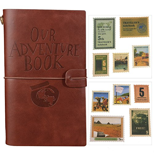 Our Adventure Book Journal Refillable Notebook Leather Notepad Travel Diary With Card Slots and Zipper Pocket Personalized Gift for Teachers Students Men Women (Coffee)