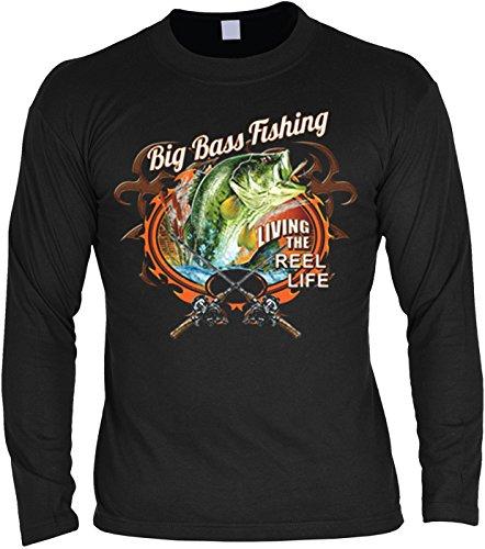 Angler Langarmshirt Big Bass Fishing Angel Shirt 4 Heroes Geburtstag Geschenk geil bedruckt Schwarz