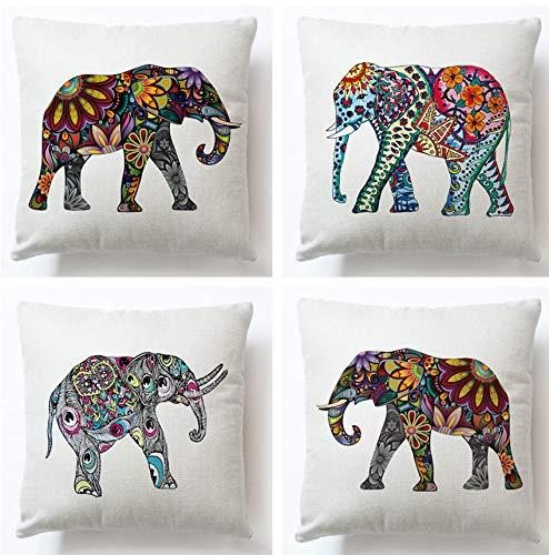 JZZCIDGa Juego De Fundas De Cojines para Elefantes con Patrón De Colores,...