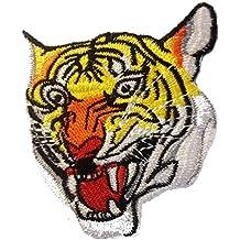Parches - tigre animal - amarillo - 7x8.8cm - termoadhesivos bordados aplique para ropa