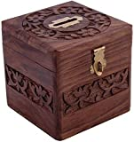 #3: FashionFrame Decorative Handmade Wooden Square Shape Money Bank/Piggy Bank/Coin Bank : Size(Inch) :4X4X4}