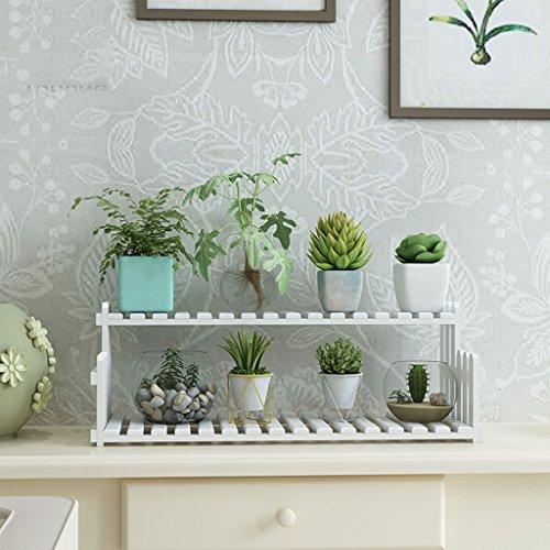 & Pot rack Support de fleur Support de fleur en bois massif Bureau Bureau Windowsill Mini Siège de fleur multicouche blanc Pots à fleurs décoratifs (taille : 40 cm)