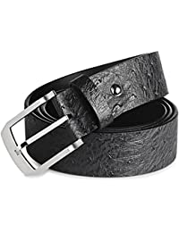 Black Hardart Classic Stainless Steel Simple Solid Buckle Crocodile Pattern Genuine Cow Skin Leather Belt for Men