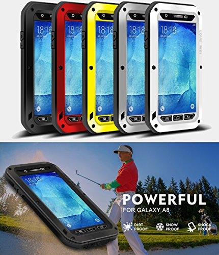 Cas pour samsung galaxy, a8 love mei marque étanche, anti-chocs, anti-poussière en aluminium métallique avec protection d'écran intégrée et gorilla glas garantie 2 ans ** blanc