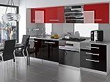 NEU Komplette Küche KOMPAKTO II 180 cm Hochglanz verschiedene Farbkombinationen (Schwarz-Rot)