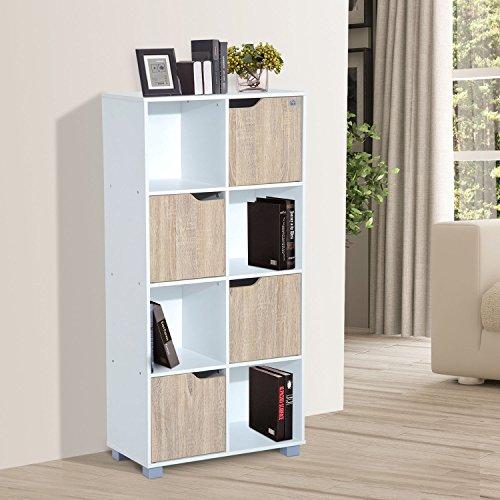 Scaffali Per Libri Design.Homcom Libreria Design A 8 Scompartimenti Scaffale Per Libri In Legno Bianco Rovere 60 X 30 X 122cm