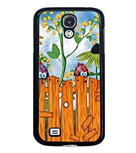 Fuson Premium 2D Back Case Cover Cute birds With Brown Background Degined For Samsung Galaxy S4::Samsung Galaxy S4 i9500