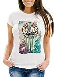 Neverless Damen T-Shirt California Beach Sunset Palmen Los Angeles Retro Slim Fit weiß S