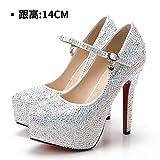 HUAIHAIZ Damen High Heels Pumps Hochzeit Schuhe weiblich Armband weiße Schuhe mit hohen Absätzen crystal diamond Schuhe rot Brautschuhe Abend Schuhe, 37, Weiß, 14 CM