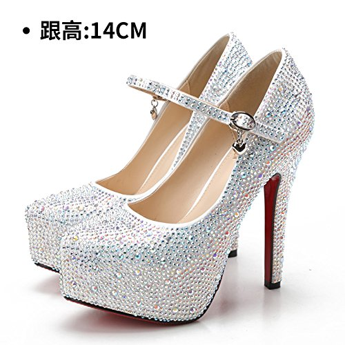 HUAIHAIZ Damen High Heels Pumps Hochzeit Schuhe weiblich Armband weiße Schuhe mit hohen Absätzen crystal diamond Schuhe rot Brautschuhe Abend Schuhe, 38, Weiß, 14 CM