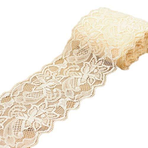 Ymacy 5Meter Dünn Lace Stoff Ribbon Trim Spitze Yard für Heimwerker Craft Kleidung Zubehör und rustikal Hochzeit Brautschmuck Dekoration Light Champagne